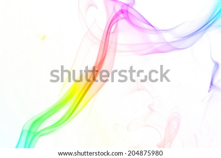 Colorful smoke isolated on the white background