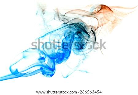 colorful smoke on a white - stock photo