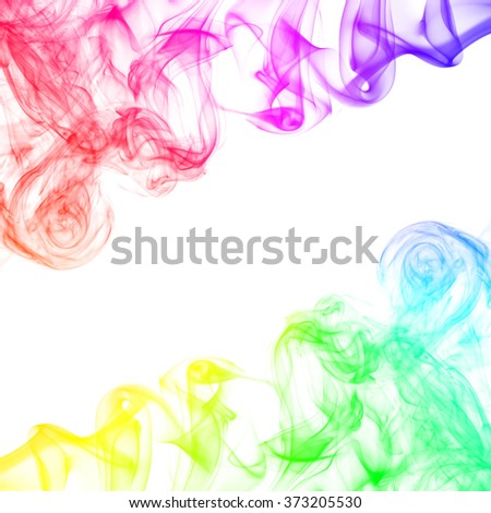 Colorful smoke on white background. - stock photo