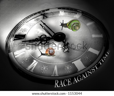 Colorful snails racing against time on black and white clock.