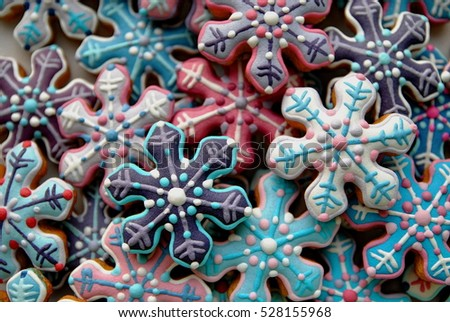 Colorful snowflakes cakes , Mix of Christmas star cakes , Blue star cookies , New Year's decoration