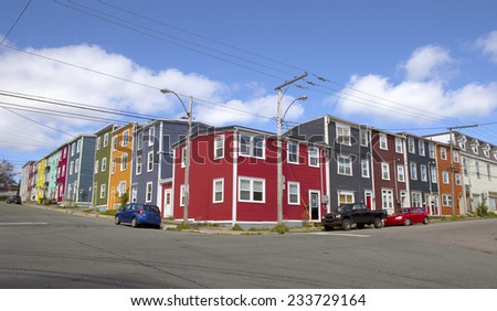 Colorful soapbox houses in St John's, Newfoundland, Canada - stock photo