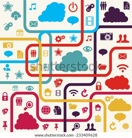 Colorful Social media network concept with app icons illustration.  - stock photo