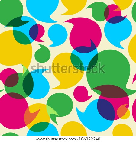Colorful social media speech transparency bubbles seamless pattern background.