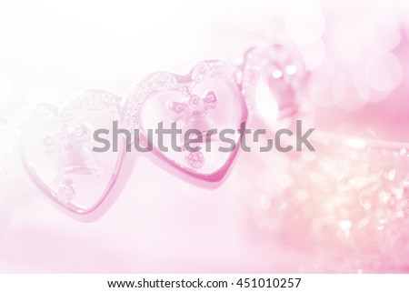 colorful soft blur bell in heart, part of gold and diamond bracelet, for background