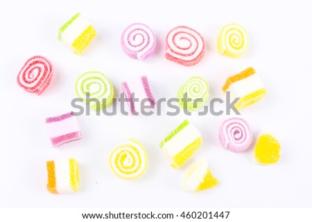 Colorful soft jelly gelatin candy isolated on white background,flat lay