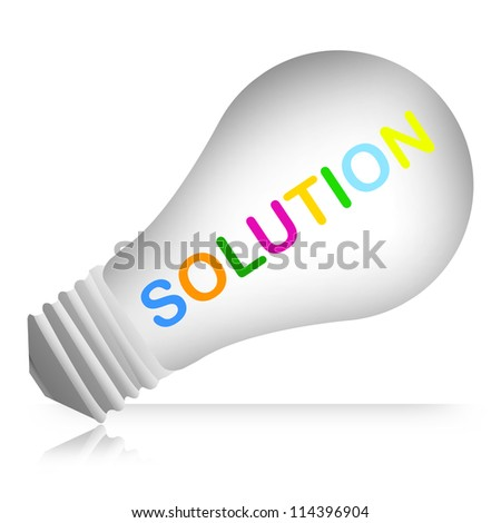 Colorful Solution Text Inside The Light Bulb For Business And Problem Solving Concept Isolated on White Background - stock photo