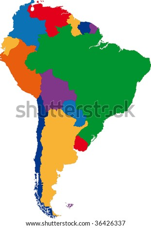 Colorful South America map with country borders - stock photo