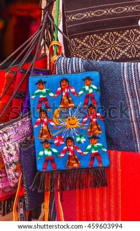 Colorful Souvenir Mexican Peasant Blankets San Miguel de Allende Mexico - stock photo