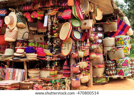 Colorful souvenirs at a market in Africa, Madagascar