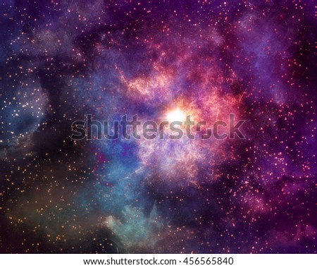 Colorful Space Galaxy Background with Light, Shining Stars, Stardust and Nebula.
