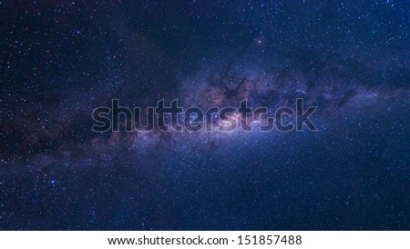 Colorful space shot of milky way galaxy with stars and space dust  - stock photo