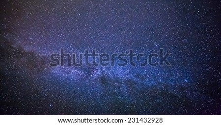 Colorful space shot showing the universe milky way galaxy with stars and space dust. - stock photo