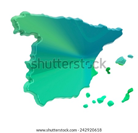 Colorful Spain map - stock photo