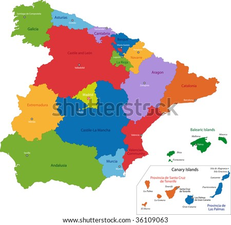 Colorful Spain map with regions and main cities - stock photo