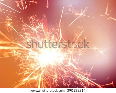 colorful sparkler, New Year celebration - stock photo