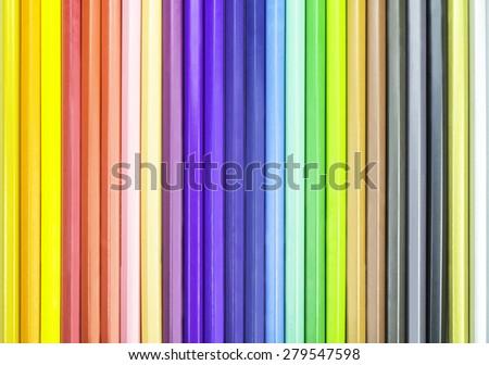 Colorful spectrum set of color pencils background - stock photo