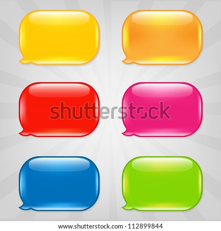 Colorful Speech Bubble, Isolated On Grey Background - stock photo