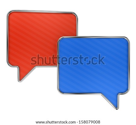 Colorful speech bubbles with lined texture isolated on white background