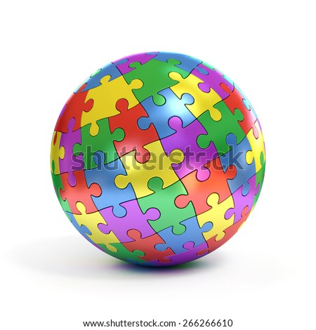 colorful spherical puzzle - stock photo