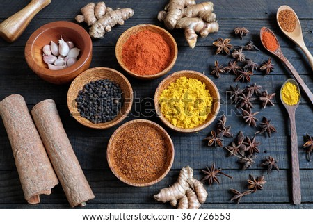 Colorful spice for food, with natural color and make aromatic flavor, cashew, chilli, pepper, turmeric powder, star anise, cinnamon in ingredient spice for healthy food and are agriculture product