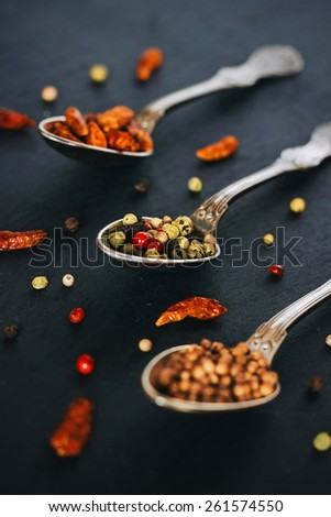 Colorful spices, creative arrangement. Food styling. - stock photo