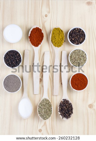 Colorful spices in wooden spoons - beautiful kitchen image. - stock photo