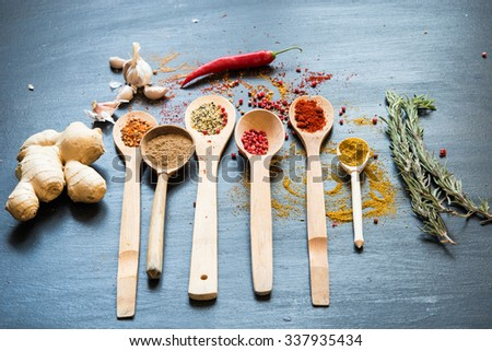 Colorful spices on a black board - stock photo