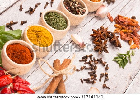 colorful spices on a rustic wooden table