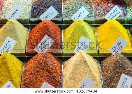 Colorful spices on display - stock photo