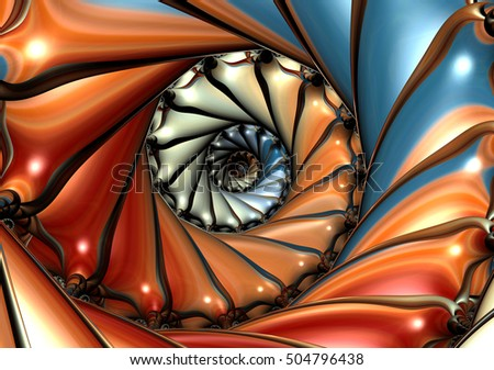 Colorful spiral background artwork based on fractal. Creative and psychedelic ornate Image for creative graphic design, art and prints.