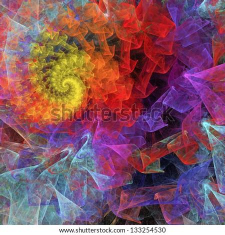 Colorful Spiral Background. Rainbow Mood. Digital fractal - stock photo
