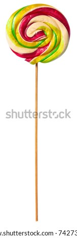 Colorful spiral lollipop isolated on white background - stock photo