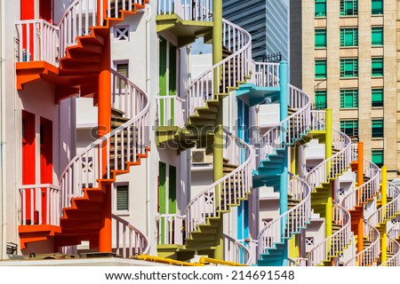 Colorful spiral stairs of Singapore's Bugis Village  - stock photo