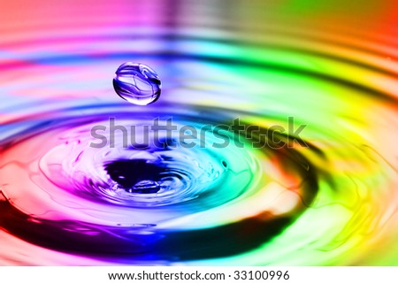 Colorful splash with round drops macro
