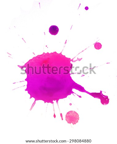 Colorful splashes of paint isolated on white - stock photo