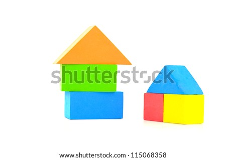colorful sponge building blocks isolated on white background