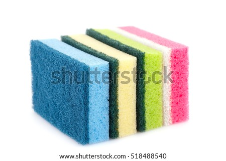 Colorful sponges isolated on white background.