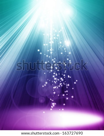 colorful spotlight on stage with some glitter and sparkle on it - stock photo