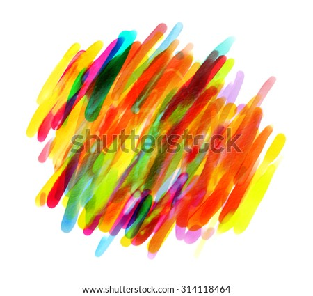 Colorful spots with a brush. Blank colorful blotch. Hand drawn. Isolated on white background - stock photo