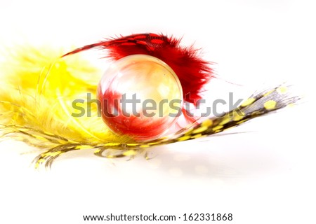 Colorful spotted feather with glass marble on white background - stock photo