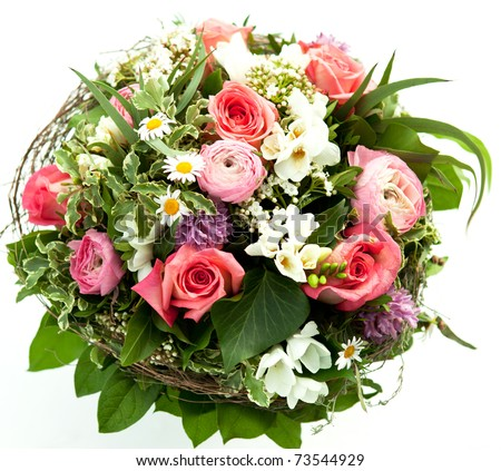 Colorful spring flowers bouquet - stock photo
