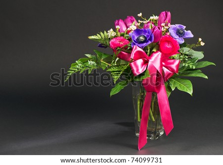 colorful spring flowers on black background