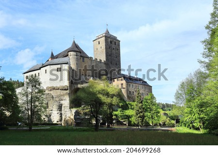 Colorful spring Landscape in Bohemian Paradise with Castle Kost , Czech Republic