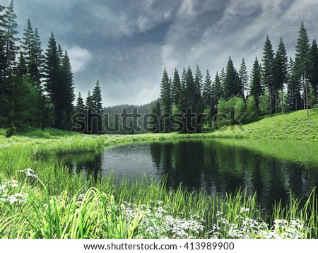 Colorful spring landscape with a river near a forest. 3D illustration. - stock photo