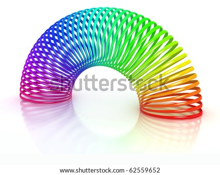 colorful spring over white background - stock photo