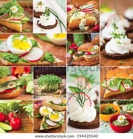 Colorful spring / summer food collage / background with bread and fresh vegetables. - stock photo