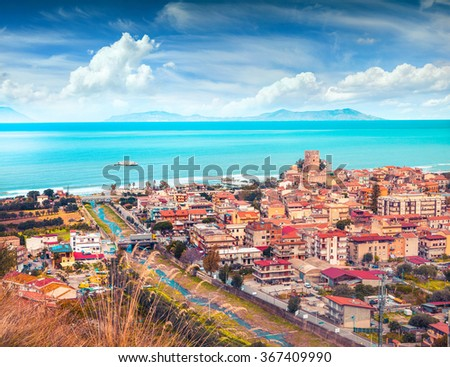 Colorful spring view of Brolo town, Messina. Mediterranean rea, Sicily, Italy, Europe. Instagram toning. - stock photo