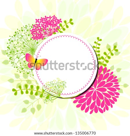 Colorful Springtime flowers Butterfly Greeting Card - stock photo