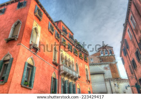 colorful square in Venice, Italy